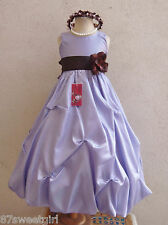 LILAC PURPLE IRIS BROWN PARTY FLOWER GIRL DRESS  2T/2 3 4 5 6X 6 7 8 10 12 14