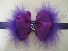 Infant Baby Girls Spring Easter Glitz Marabou Elegant Hair Bow Elastic Headband