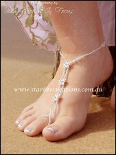Barefoot Sandals Swarovski Crystals SILVER BUTTERFLY beach bridal Foot Jewellery