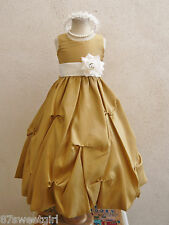 GOLD IVORY BRIDAL PARTY GOWN FLOWER GIRL DRESS SIZE 2T/2 3 4 5 6X 6 7 8 10 12 14