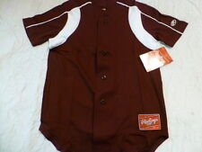 Youth Boys RAWLINGS MAROON With WHITE TRIM Baseball Full Button Down JERSEY New