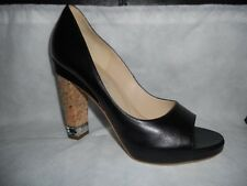 CHANEL Leather Open Toe Platform Cork Heel Chain Pumps Shoes CC Logo Black $995
