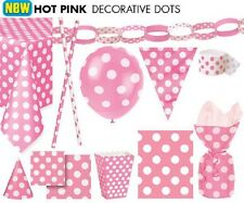 HOT PINK Tablecovers, Napkins, Balloons, Party Bags, Streamers, Plates, Cups etc