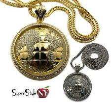 Hip Hop Iced Out Crystals The World Is Yours Globe Earth Pendant Franco Chain