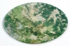 1x Large Oval Natural Moss Agate Gemstone Cabochon Pendant Focal Bead 65mm Slice