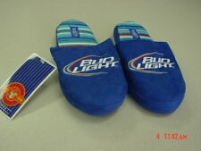 NWT Unisex Mens Womens Budweiser Slipper Bud Light Faux Fur Beer Party Blue