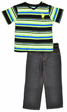 US Polo Assn Toddler Boys Striped Green Top & Denim Pant Set Size 2T 3T 4T $42