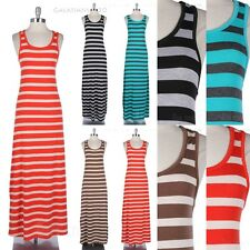 Striped Racerback Sleeveless Tank Maxi Dress Full Length Long Casual Comfortable