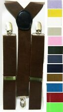 "1.25"" Wide Solid Plain Stretch Elastic Design Unisex Standart 3 Clip Suspenders"