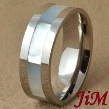 Titanium Ring Mens Wedding Band Engagement Shell Inlay Bridal Jewelry Size 6-13