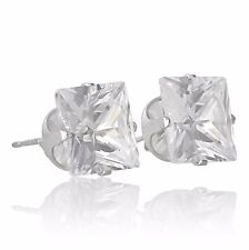 Sterling Silver Cubic Zirconia Stud Earrings Choose Shape, Colour & Size.
