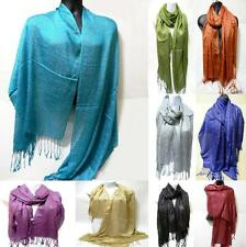 Soft Shawl Glitter Fashion Design Long Tassel Sparkling Wrap Light Shiny Scarf