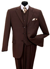 MENS BROWN 3 PIECE 3 BUTTON TONE ON TONE PINSTRIPE DESIGNER BUSINESS SUIT 38R-60