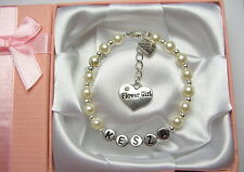 Personalised Flower Girls Ivory Pearl Bracelet With Luxury Gift Box or Gift Bag