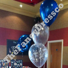 Birthday Party Helium Balloon Cluster DIY Kit - Blue & Silver Age 18 21 30 etc