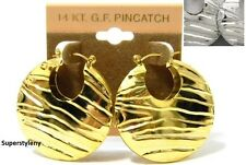 14 KT Cold Filled GF Pincatch Fashion Celebrity Puffy Hoop Wave Earrings #E3