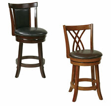 Metro 24H Swivel Bar Stool Wood & Faux Leather Counter Pub Bistro Table Chair