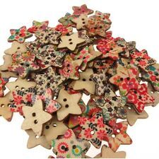 25 Floral Pattern Star Shaped Natural Wooden Button Beads For Crafting 25mm