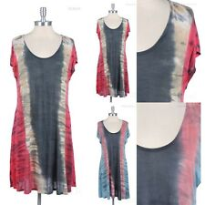 Womens Tie Dyed Loose Fit Long Tunic DRESS Scoop Neck Stylish Flowy S M L
