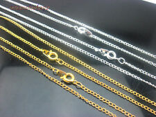 30/50/100Pc With Clasp Gold/Silver Plated Curb Chain Necklace/ Chain Finding #Yk