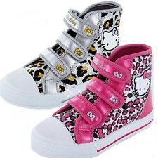 Girls Hello Kitty Peony Hi Top Canvas Trainers Shoe Sizes 8-2