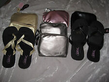 Sidekicks Foldable Sandals Flip Flops Shoes with Zipper Case Crystals NEW!
