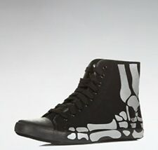 Men's BE&D Hi Tops Sneakers Trainers Boots - Black with Silver Skull design