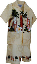 Boys Hawaiian Short Set Surf Up 222-3466 NEW 100% Cotton Made in Hawaii. USA