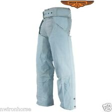 BLUE LEATHER CHAPS W/ GATHERED THIGH & HIP POCKETS SIZE XS TO 6XL NEW LC332~15