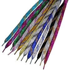 "1 Pair 45"" Glitter Sparkle Flat Shoelaces Shoe String Lace 12 Color"