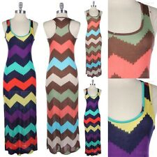 Multi Color Zig Zag Print Maxi Long Sundress Full Length Racerback Casual Cute