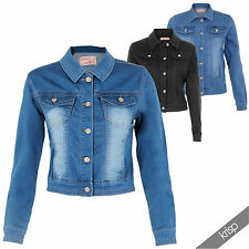 Ladies Women Spring Summer Denim Jeans Jacket Light Wash Faded Colour 8 to 18 20