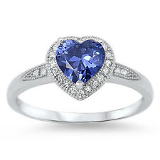 Halo Style Heart Cut TANZANITE Promise Solitaire Ring .925 Sterling Size 5-9