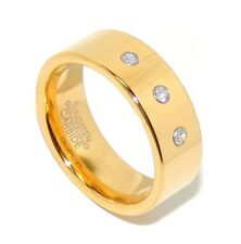 Traditional 14K Gold Plated 3 Clear CZs Mens Tungsten Anniversary Wedding Ring