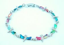 Dragonfly Anklet Or Bracelet multi - colored Paua Shell Inlay Choose Your Size