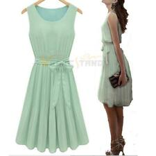 Lady Elegant Sleeveless Pleated Chiffon Vest Dress Sundress Mint Green 4 Size V6