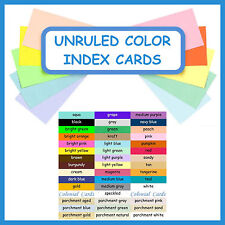 100 ~ 3½x5 or 4¼x5½ Index Cards Color Cardstock Blank Unruled Colored Card Stock