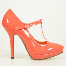DESIGNER PATENT HOT CORAL RED T-STRAPS PLATFORM HIGH HEEL PUMPS SHOES