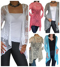 New Womens Ladies Cardigan Bolero Shrug Crochet Lace Jacket Top Size 8 10 12 14
