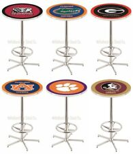 "Choose Your NCAA A-J Team 42"" Tall x 28"" Round L216 Chrome Base Pub Bar Table"