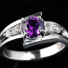 6mm Round Stone Women 925 Sterling Silver Promise Ring Size 6 7 8 9 Choices