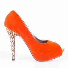 WOMEN SHOES HOT ORANGE PEEP TOE PLATFORM LEOPARD HIGH HEELS EVENING PARTY