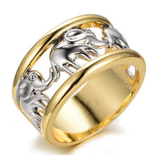 Z066 Jewelry elephant lady/men's 10KT white/rose Gold Filled Ring sz7/8/9/10
