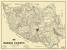 Old County Map - Harris Texas Landowner - 1893 - 30.5 x 23