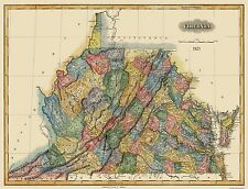 Old State Map - Virginia - Lucas 1823 - 30 x 23