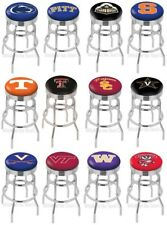 Choose NCAA P-Z Team L7C3C Chrome Double-Ring Bar Stool w/ Ribbed Accent Ring
