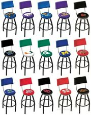 Choose Your NCAA K-O Team L8B4 Black Single-Ring Swivel Bar Stool w/ Seat Back