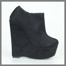 WOMAN SHOES DESIGNER BLACK SUEDE PLATFORM WEDGE HEEL ANKLE BOOTS