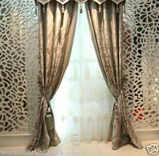 %H Customized Cotton+Silk Jacquard Light Brown 75% Blockout Home Decor Curtain
