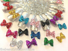 GLITTER BOWS -  CRAFT BOW KNOT CABOCHON RESIN NAIL ART DECORATION SCRAPBOOK